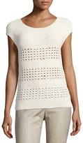 Lafayette 148 New York Hand-Crochet Cap-Sleeve Sweater, Beige