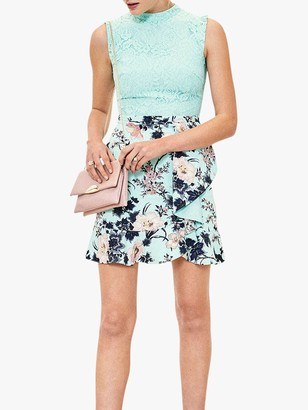 Oasis Shadow Floral Skater Dress, Turquoise