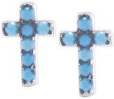 Macy's Aqua Glass Stone Cross Stud Earrings in Sterling Silver