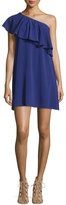 Alice + Olivia Francie One-Shoulder Ruffle Mini Dress, Blue
