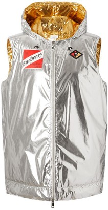 Burberry Logo Graphic Metallic Down-filled Gilet