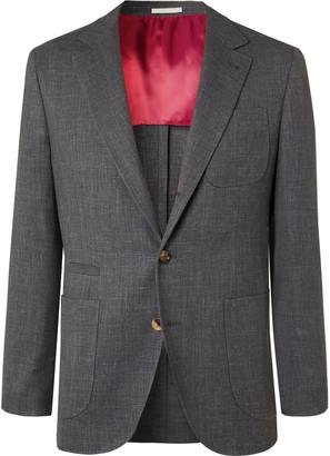 Brunello Cucinelli Dark-grey Slim-fit Unstructured Wool, Linen And Silk-blend Blazer - Gray