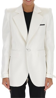 Saint Laurent Oversized Collar Classic Satin Blazer