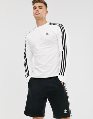 adidas 3-Stripe long sleeve t-shirt in white