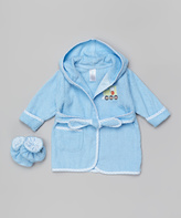 SpaSilk Blue Train Bathrobe & Booties - Infant