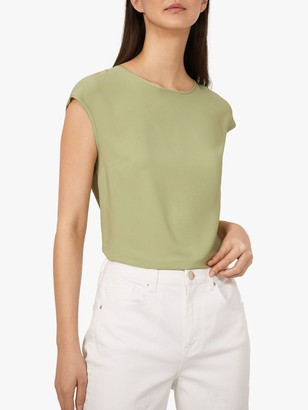 Warehouse Satin Tipped Sleeveless Top