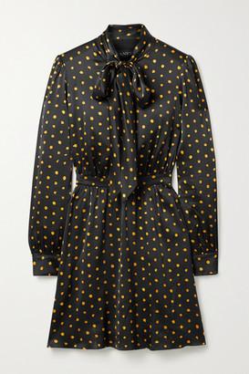 HANEY Marial Pussy-bow Polka-dot Stretch-silk Satin Mini Dress - Black