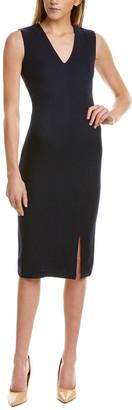 St. John V-Neck Wool & Silk-Blend Midi Dress