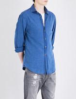 Brunello Cucinelli Ruched-shoulder slim-fit cotton shirt