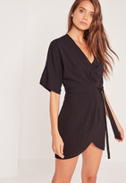 Missguided Kimono Wrap Over Belted Mini Dress Black