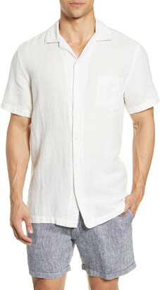 Onia Textured Short Sleeve Button-Up Stretch Linen Blend Camp Shirt