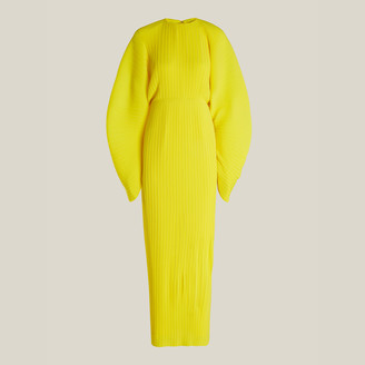 SOLACE London Yellow Mirabelle Plisse Chiffon Maxi Dress UK 4