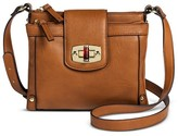 Merona Women's Solid Crossbody Faux Leather Handbag with Turnlock Closure