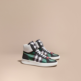 Burberry Leather And Check High-top Trainers