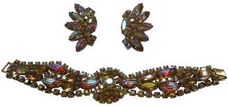 One Kings Lane Vintage 1960s D&E Juliana Bracelet & Earring Set - Wisteria Antiques Etc