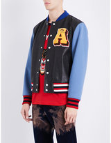 Gucci Patch-appliquéd Leather And Wool Bomber Jacket