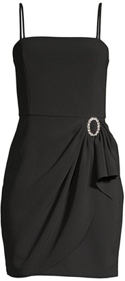 Parker Black Klum Gathered-Waist Crepe Mini Dress