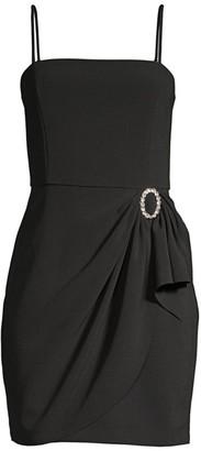 Parker Black Klum Gathered-Waist Crepe Mini Dress