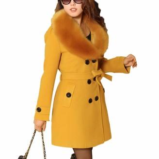 Finerun Women Double-Breasted Slim Trench Coat Faux Fur Collar Mid Long Woolen Coat Windbreaker Red