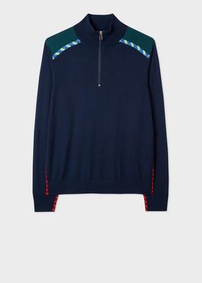Men's Dark Navy Merino Zip-Neck Sweater With 'Rope' Trims