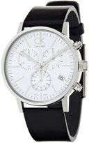 Calvin Klein Men's Post Minimal K7627120 Black Calf Skin Analog Quartz Watch with Dial