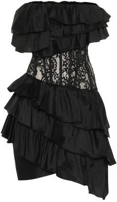 Rasario Silk-blend lace minidress