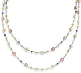 Honora Sterling Silver 5.5-6MM Wildflower Freshwater Cultured Pearl & Gemstone 36-Inch Necklace