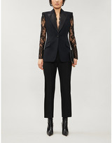 Alexander McQueen Tailored-fit lace-panelled wool blazer
