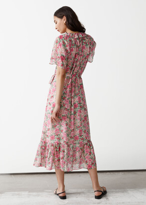 And other stories Ruffled Midi Wrap Dress