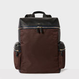 Paul Smith Men's Black And Brown Leather And Nylon Backpack