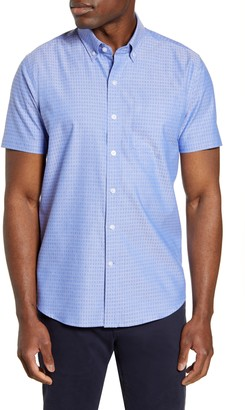 Cutter & Buck Strive Classic Fit Jacquard Short Sleeve Button-Down Sport Shirt