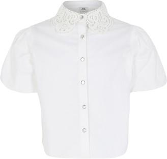 River Island Girls White lace collar puff sleeve shirt
