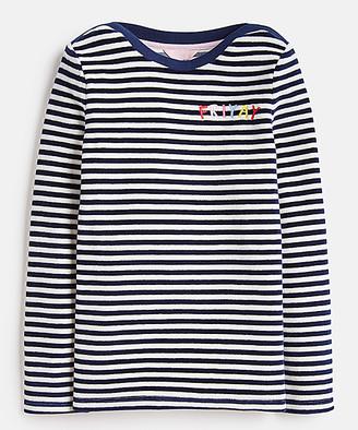 Joules Girls' Tee Shirts - Navy Stripe 'Friyay' Maisie Long-Sleeve Tee - Toddler & Girls