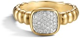 John Hardy Bedeg 18K Gold and Diamond Pave Square Station Slim Ring