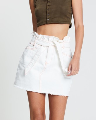 Missguided Contrast Stitch Paperbag Denim Skirt