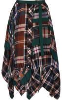 Sacai Asymmetric Pleated Tartan Flannel Skirt - Navy
