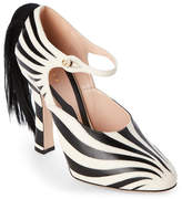 Gucci Black & White Lesley Zebra Real Fur Mary Jane Pumps