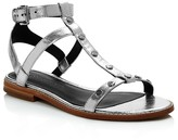 Rebecca Minkoff Sandy Metallic Leather Studded T Strap Sandals