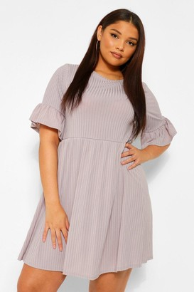 boohoo Plus Rib Ruffle Sleeve Smock Dress
