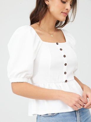 Very Button Detail Puff Sleeve Top - Ivory