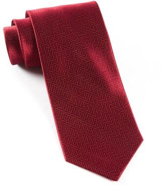 Tie Bar Herringbone Burgundy Tie