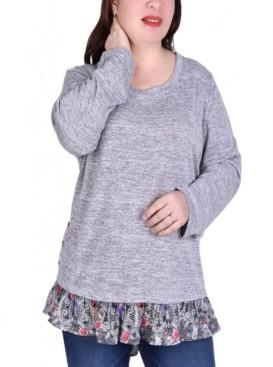 NY Collection Women's Long Sleeve Tunic with Ruffled Hem