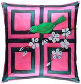Mariska Meijers Trellis Bird Printed Silk & Linen Pillow