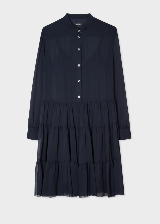 Paul Smith Women's Dark Navy Semi-Sheer Shirt Dress