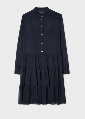 Paul Smith Women's Dark Navy Semi-Sheer Shirt Dress