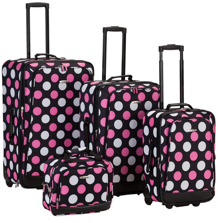 Rockland 4-Piece Mulpinkdot Luggage Set