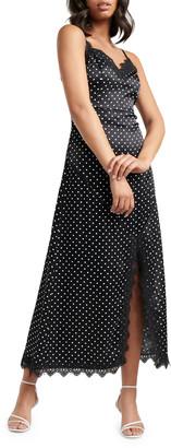 Ever New Patrice Lace-Trim Dot Satin Midi Slip Dress