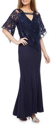 MAYA BROOKE Maya Brooke Short Sleeve Embellished Evening Gown