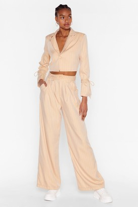 Nasty Gal Womens Dressed to the Lines Pinstripe Wide-Leg Trousers - Beige - 14
