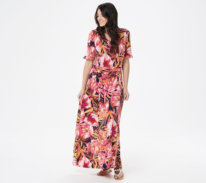 Susan Graver Petite Printed Liquid Knit Maxi Dress with Belt